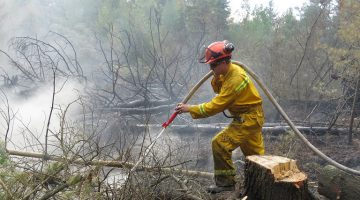 Photo from Wednesday's firefighting efforts at Ellice Swamp contributed by the UTRCA