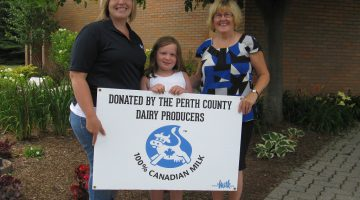 Contributed photo: from left to right: Heather Robinson (Perth Dairy Producers) and her daughter, Natalie Robinson, and Mary Anne Lealess, Public Health Nurse.